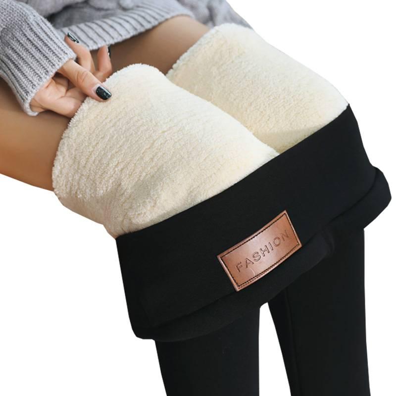 超厚特厚东北羊羔绒打底裤子女秋冬季加绒加厚棉裤高腰外穿保暖裤