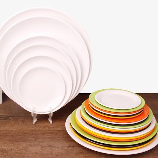 A5密胺自助火锅西餐快餐具骨碟仿瓷白色菜盘塑料圆盘平盘碟子