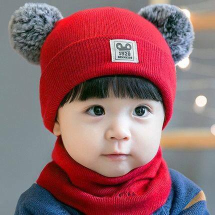 婴儿帽子秋冬季3婴幼儿6-12月男女童毛线帽加绒加厚0-2岁宝宝帽冬
