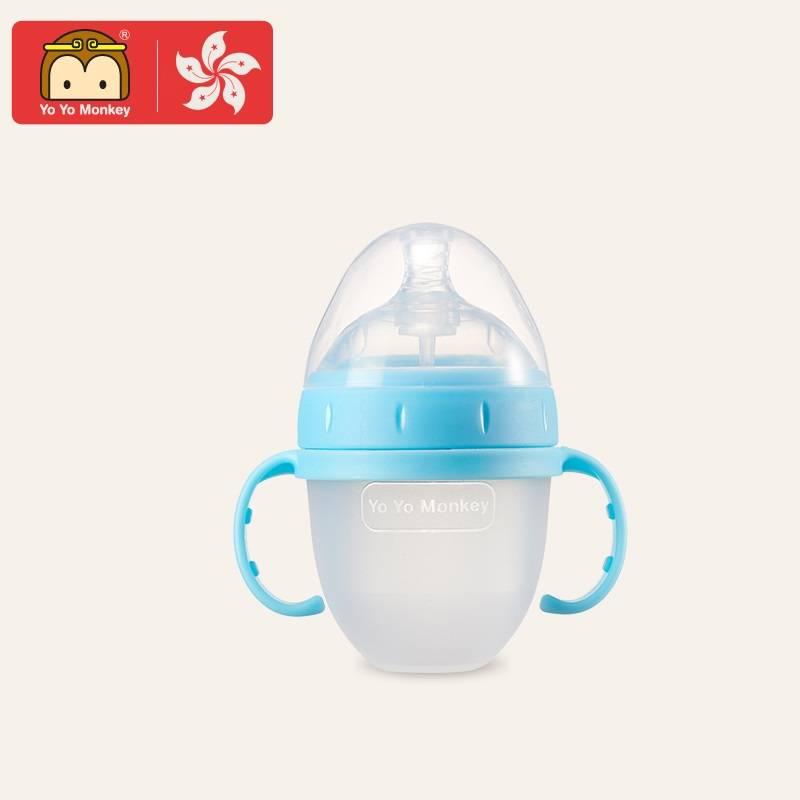 香港优优马骝正品全硅胶奶瓶新生婴儿大宽口径耐摔防胀宝宝断奶