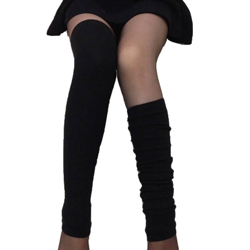 秋冬羊绒袜套加厚加长保暖过膝女长筒护腿套防滑脚套靴套堆堆袜子