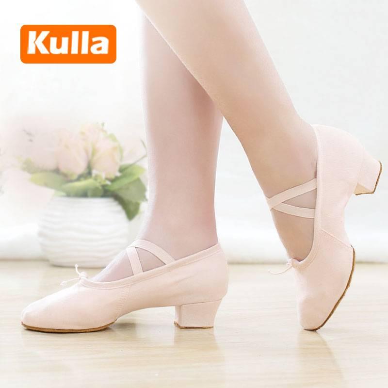 成人带跟舞蹈鞋女软底练功鞋民族舞教师鞋有跟肚皮舞鞋女式中跟