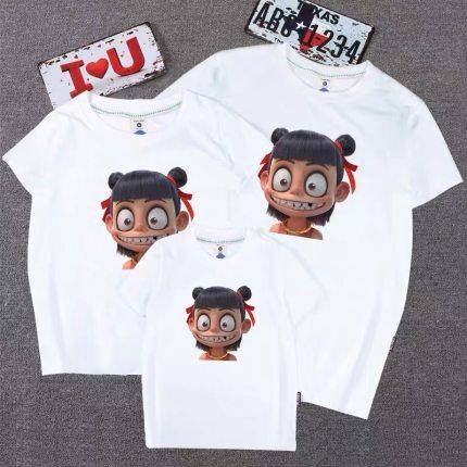小飞象亲子装t恤短袖一家三口母女装高端洋气不一样的夏装四口T恤