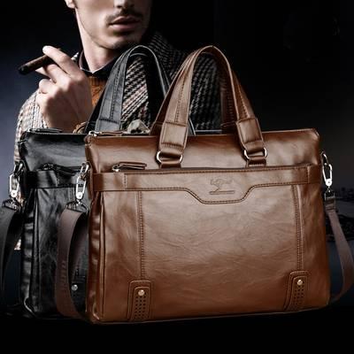 正品袋鼠男包横款软牛皮中年男士手提包青年时尚商务电脑公文包包