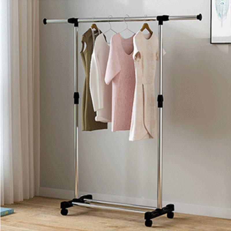 落地折叠不锈钢晒衣架阳台挂凉晾衣架双杆晾衣杆升降家用室内伸缩