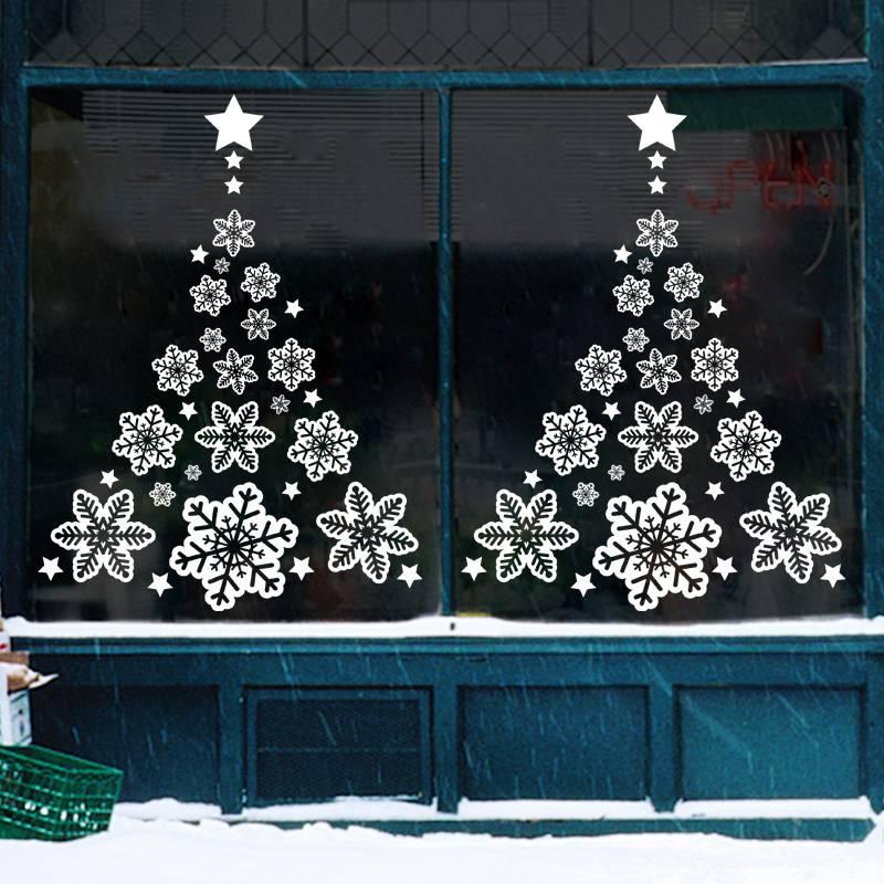 圣诞节装饰品店面场景布置橱窗玻璃贴纸门贴圣诞树老人窗花小挂件