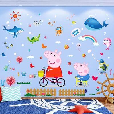 卡通墙贴儿童房间幼儿园卧室墙面装饰墙纸自粘贴画宝宝量身高贴纸