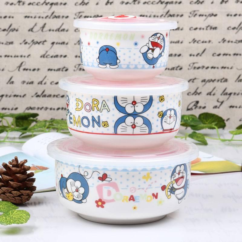 饭盒带盖便当盒学生微波炉专用陶瓷保鲜碗三件套成人大号泡面碗