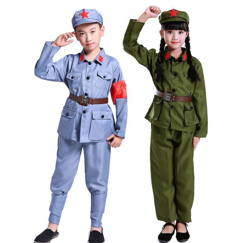 小红军演出服装儿童八路军衣服解放红卫兵幼女红星闪闪军装表演服