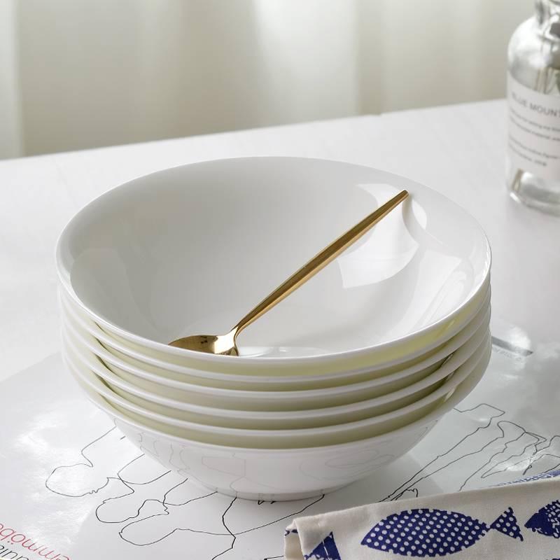 唐山金岚玉骨瓷5.5英寸斗碗米饭碗面碗中式碗敞口老式陶瓷斗笠碗