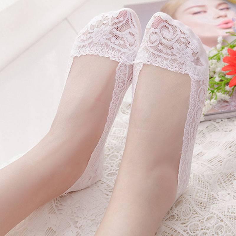 蕾丝袜子船袜女潮纯棉底夏季薄款浅口冰丝隐形硅胶防滑短袜夏天