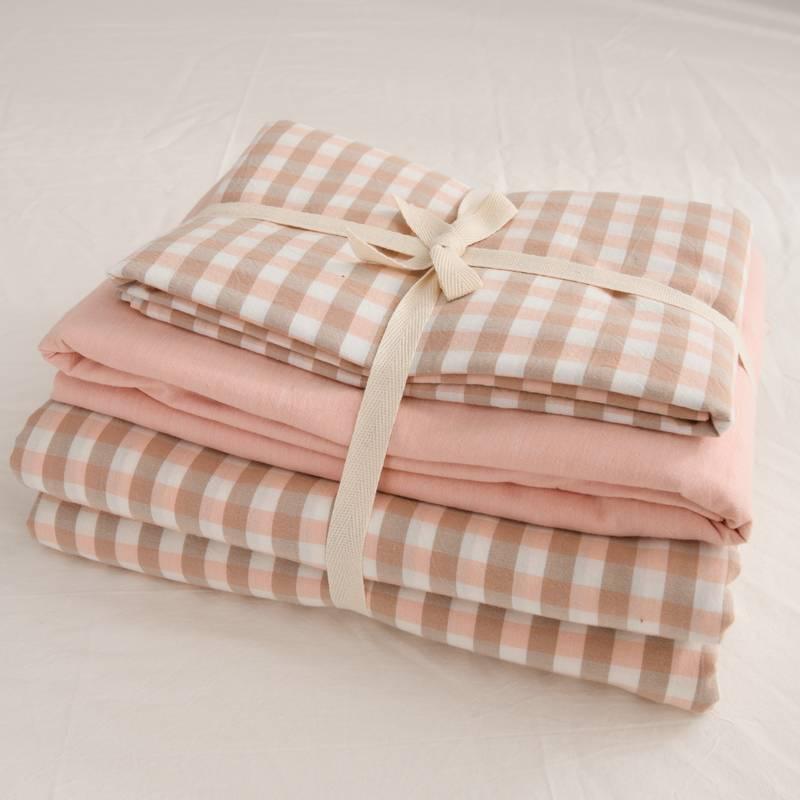 全棉水洗棉四件套纯棉格子被套宿舍单人床单三件套网红款床上用品