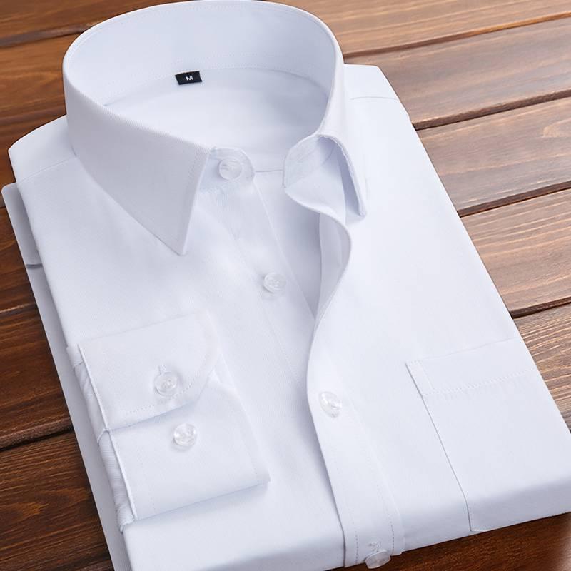 春季长袖加绒白衬衫男士职业商务正装韩版潮流打底衬衣短袖黑色寸