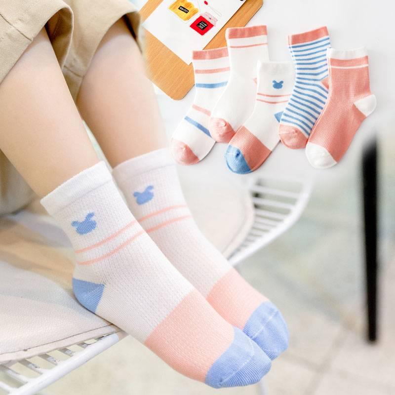 儿童袜子童袜纯棉春秋薄款中筒袜春夏网眼透气宝宝船袜男女童短袜