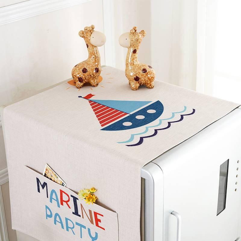 定制单开门对开门冰箱盖巾棉麻布艺冰箱洗衣机防尘罩微波炉盖布