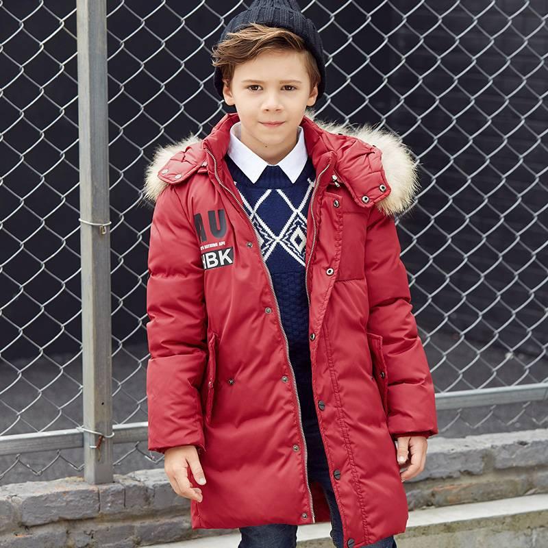 鸭鸭秋冬童装儿童羽绒服男童加厚毛领90白鸭绒中长款潮冬装中大童