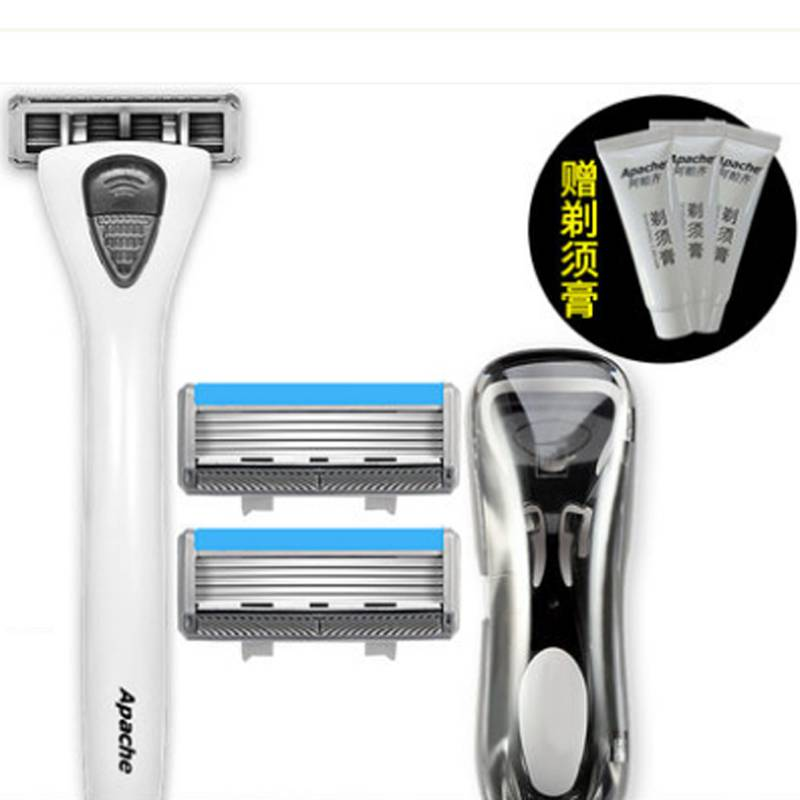 阿帕齐剃须刀手动阿帕奇五层老式刮胡刀架男士刀片式刮脸刀头套装