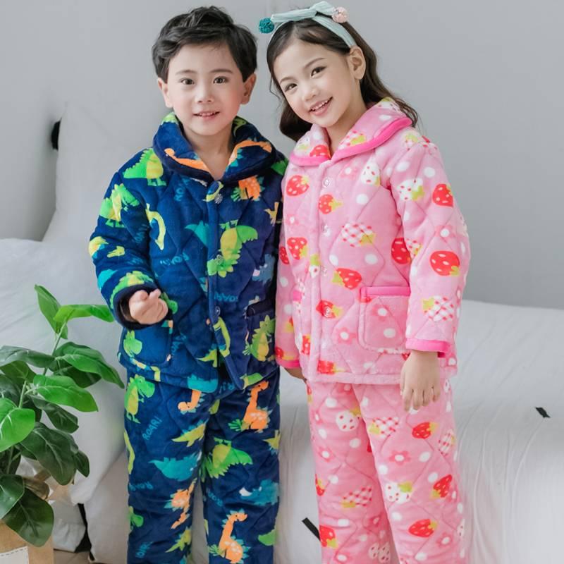兒童睡衣法蘭絨夾棉男女童冬季加厚加絨珊瑚絨家居服套裝寶寶棉襖