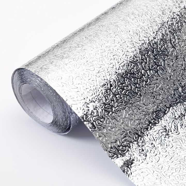 自粘防水厨房防油贴纸耐高温灶台用橱柜油烟机墙贴铝箔纸锡纸壁纸