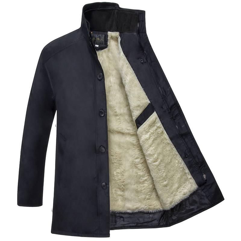 大牌人棉服中老年男装棉衣爸爸装加绒加厚 加肥加大 工作服保安服