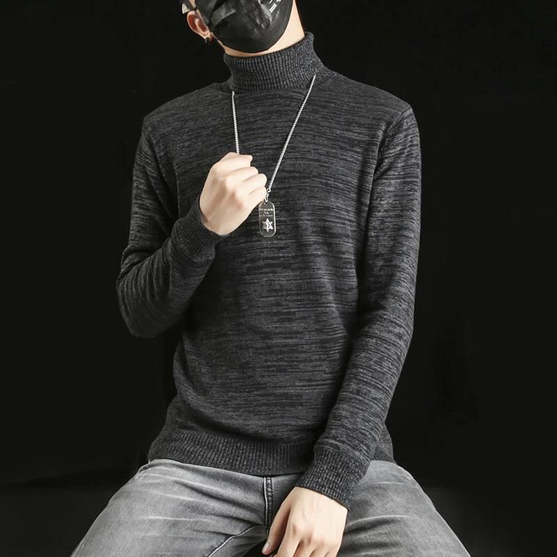 男士高领毛衣韩版潮流冬季2018新款加绒加厚保暖个性打底针织衫男