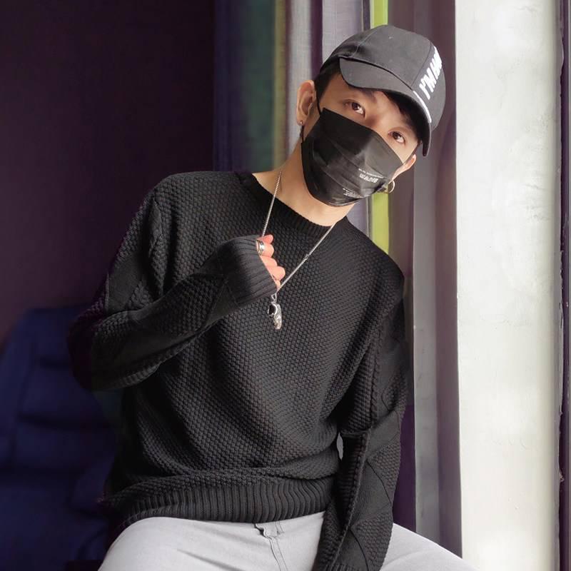 秋冬季男士圆领毛衣男2018新款韩版加绒加厚提花潮流针织衫线衣