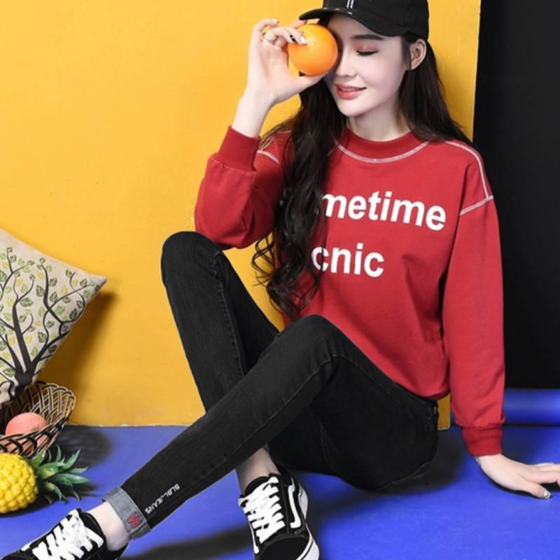 韩版潮流高腰牛仔裤女长裤