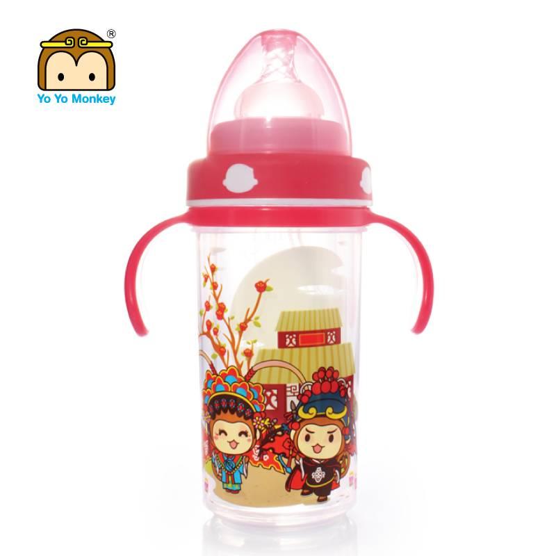 香港优优马骝新生儿玻璃奶瓶初生婴儿防爆防摔硅胶保护套防胀气