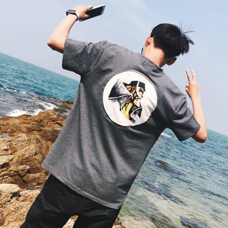 短袖男士T恤2019新款高中初中生班服宽松半袖ins风网红chic潮牌男