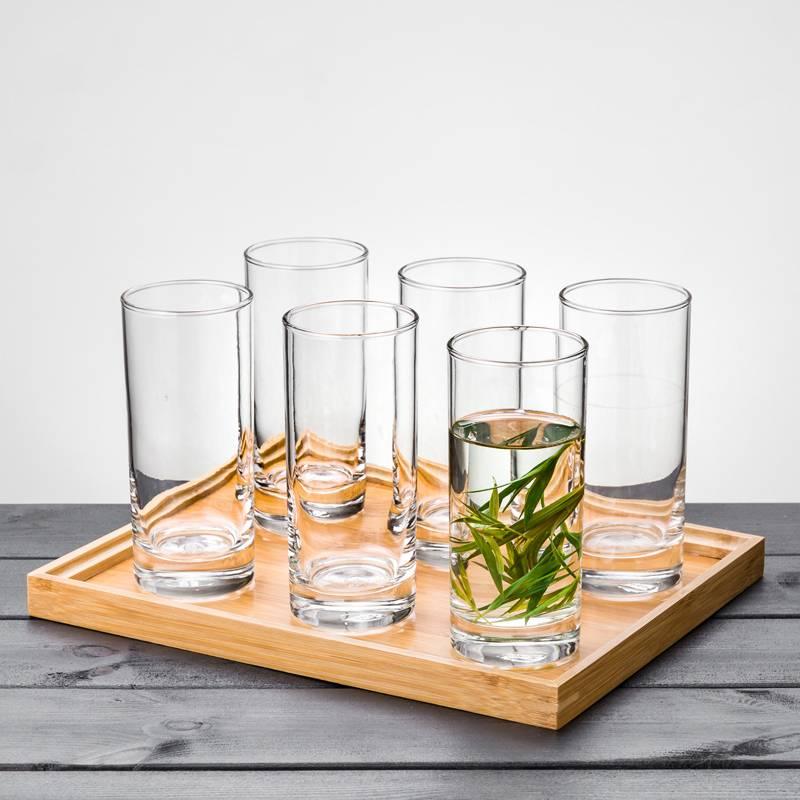 进口耐热玻璃杯子家用6只水具套装泡茶杯透明北欧风客厅简约水杯