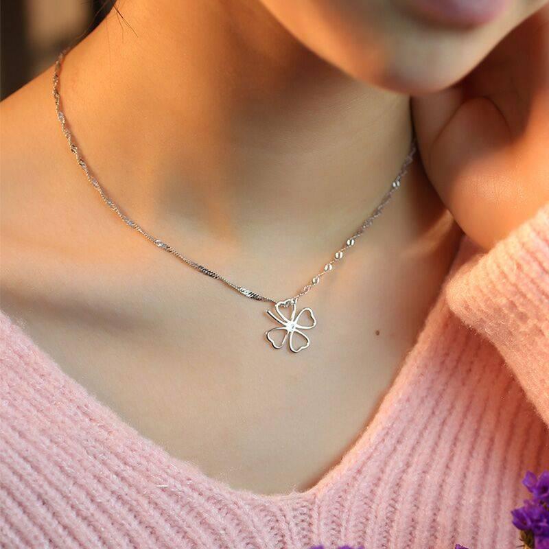 S925纯银项链女吊坠日韩版时尚学生简约锁骨链首饰生日礼物送女友