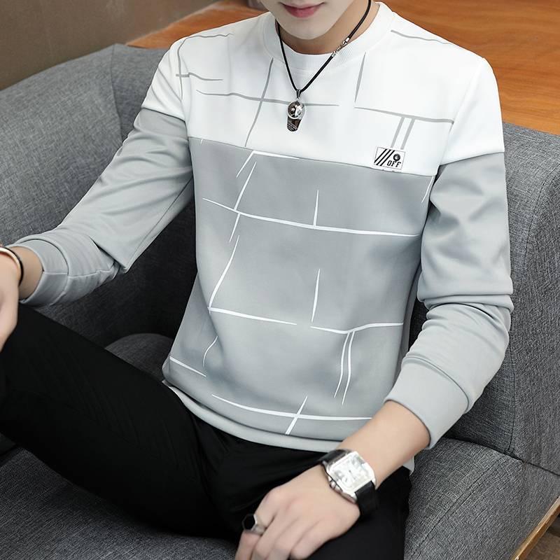 秋季新款男士长袖t恤圆领套头青少年学生韩版修身上衣服潮打底衫