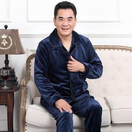 男士睡衣秋冬季中老年人珊瑚绒加厚加绒中年爸爸法兰绒家居服套装