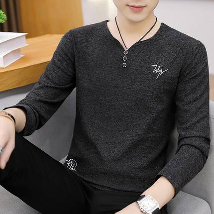 秋季新款男士长袖卫衣韩版圆领套头个性体恤打底衫潮流上衣服男装