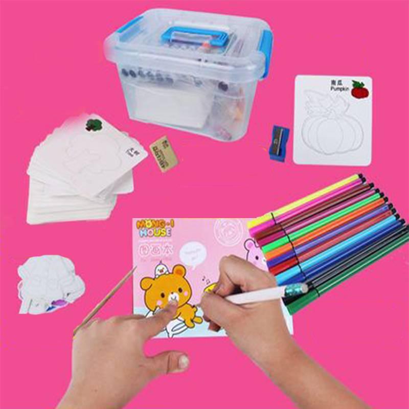 儿童礼物学画画工具涂鸦男女孩绘画模板套装1-2-3-6-8-10周岁玩具