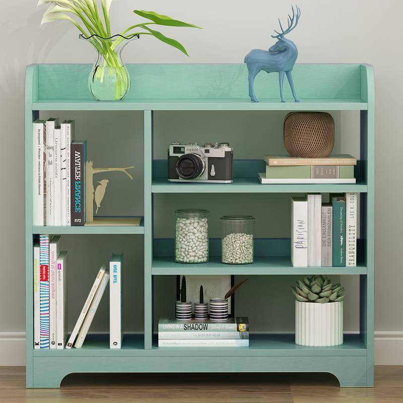 简易书架简约现代置物架落地桌上柜子学生创意格子柜自由组合书柜