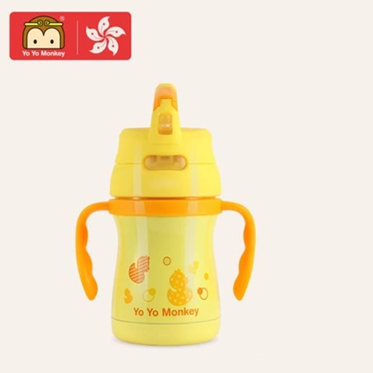 香港优优马骝婴儿吸管保温杯儿童学饮杯宝宝防漏防摔不锈钢幼儿