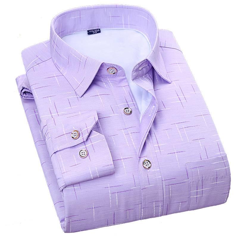 天天特价男士加绒长袖衬衫修身大码条纹保暖衬衣中青年格子加厚潮
