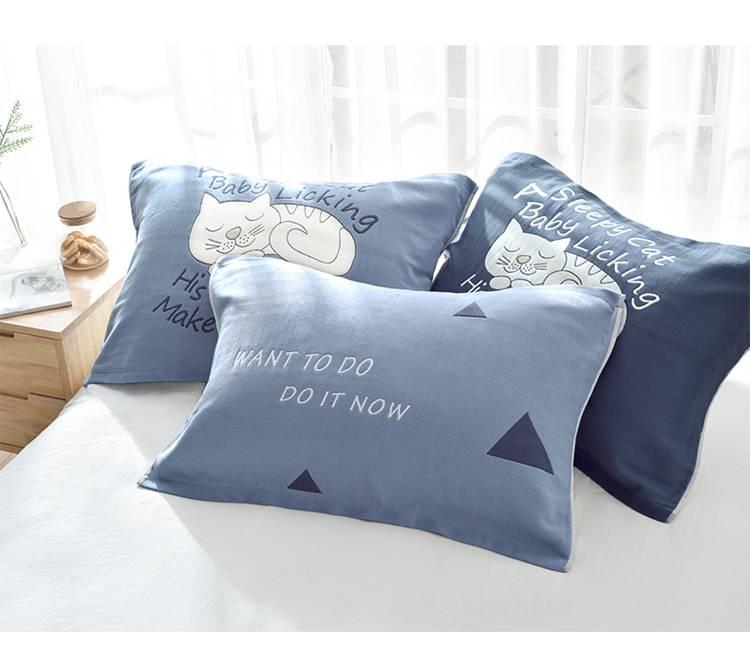 纯棉枕巾一对装四层纱布单人欧式高档全棉可爱情侣枕头毛巾枕忱巾