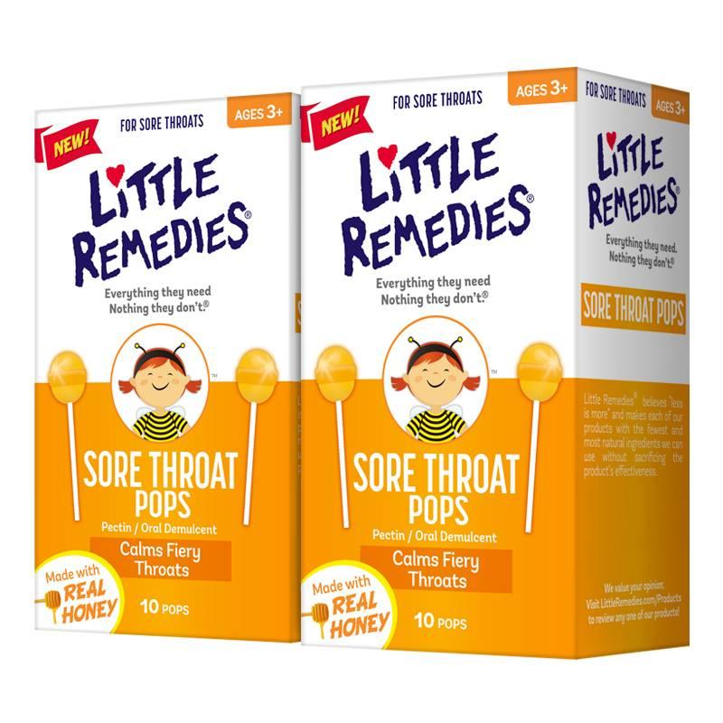 LITTLE REMEDIES美国进口儿童天然蜂蜜棒棒糖润喉糖×2盒