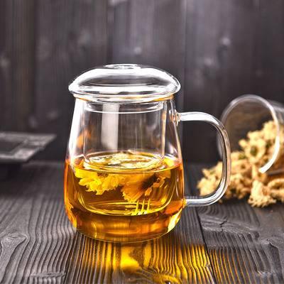 玻璃茶杯带把盖杯子家用玻璃水杯花茶杯泡茶杯过滤茶水分离泡茶杯