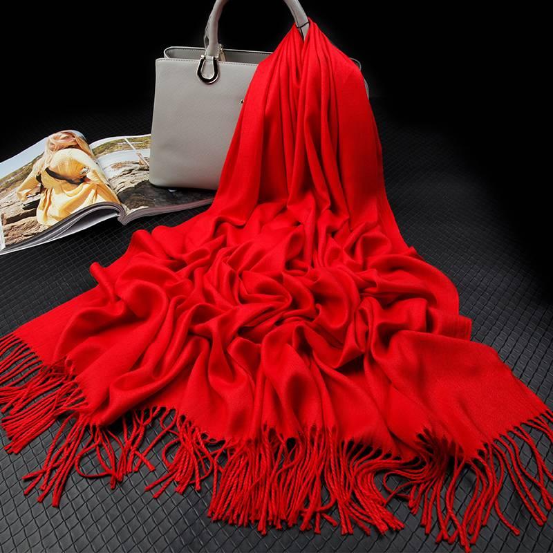 上海故事披肩中国红围巾女冬季装饰配件春秋薄大红色秋季披风百搭
