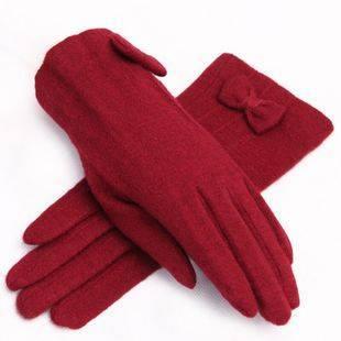 菲雪利 羊毛手套女士秋冬款保暖气质显瘦蝴蝶结韩版分指手套