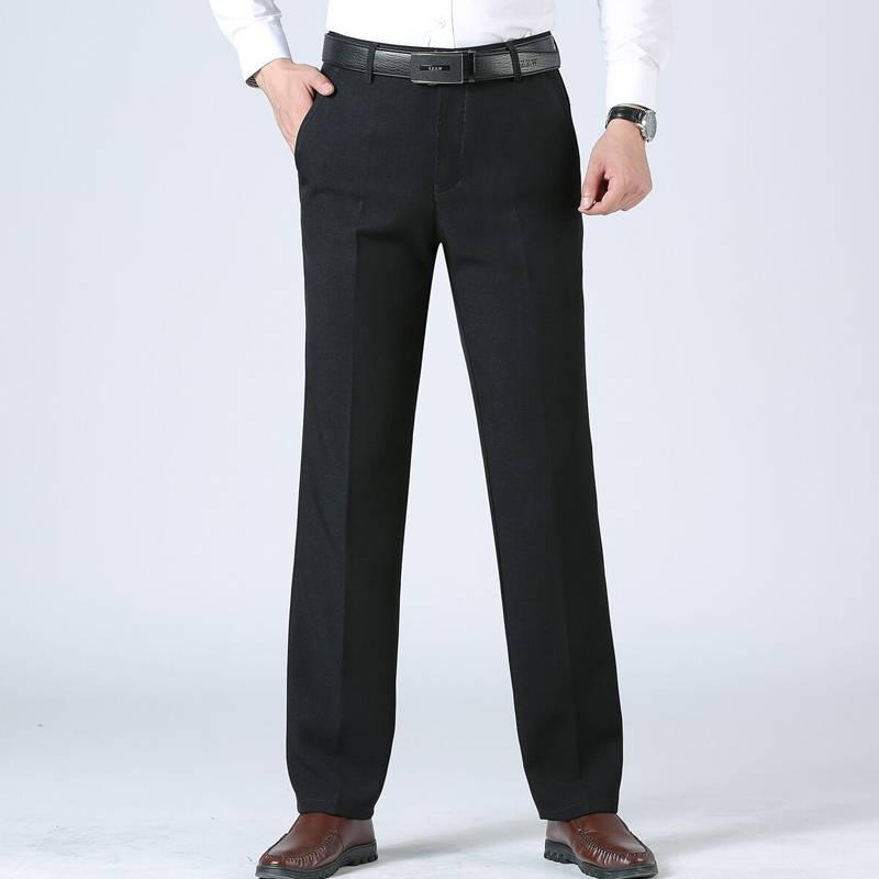 秋冬季男士休闲裤加绒加厚中年男裤宽松西裤大码爸爸裤子老年长裤