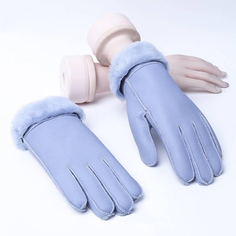皮毛一体手套男女士羊皮分指保暖手套冬季手套女加厚骑行手套女冬
