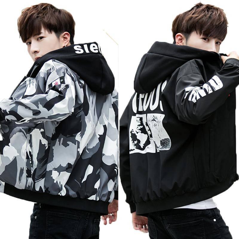 2019新款加绒保暖外套青年韩版修身男夹克纯棉水洗上衣帅气男装潮