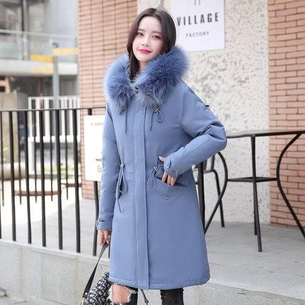 加绒棉衣女中长款2019新款冬季韩版宽松大码派克服大毛领棉袄外套
