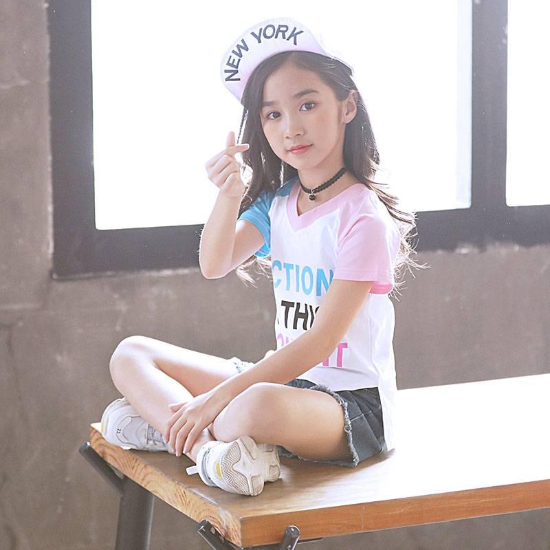 女童夏装2019新款时髦套装潮衣儿童韩版洋气牛仔短裤中大童两件套