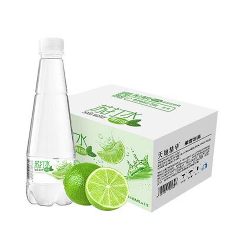 天地精华青柠檬味苏打水410ml*15瓶饮料整箱包邮无糖无汽水弱碱性