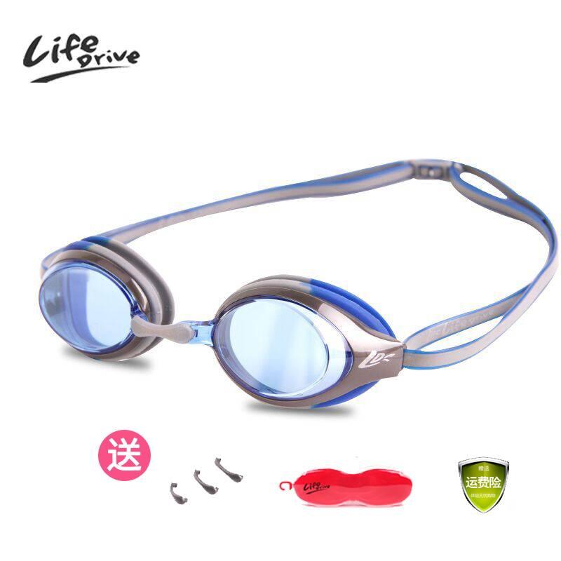 高清防水防雾泳镜男女成人游泳眼镜平光儿童近视游泳镜带耳塞送帽